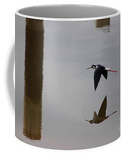 Reflection Of The Salton Sea Black Neck Stilt Flying Coffee Mug