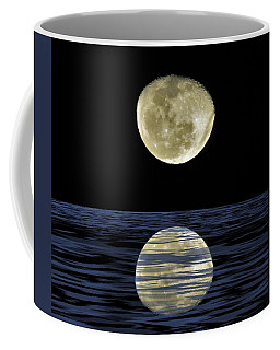 Coffee Mug featuring the mixed media Reflective Moon by Joan Stratton