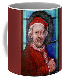 Coffee Mug featuring the painting Rembrandt Santa by Tom Roderick