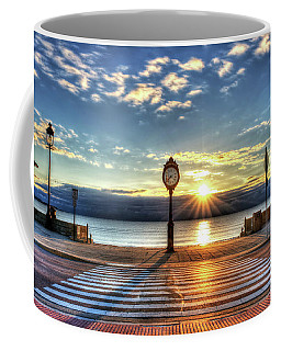 Revere Beach Clock At Sunrise Angled Long Shadow Revere Ma Coffee Mug