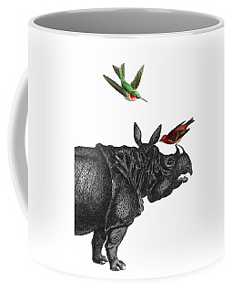 Rhinoceros With Birds Art Print Coffee Mug