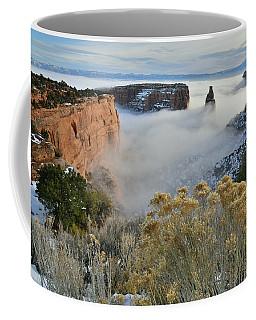 Rim Rock Drive View Of Fogged Independence Canyon Coffee Mug