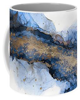 River Of Blue And Gold Abstract Painting Coffee Mug