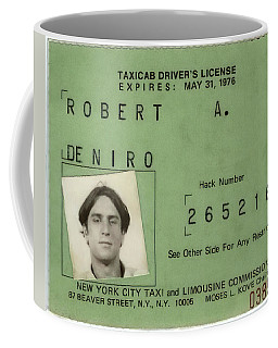 Robert De Niro's New York City Taxi Driver License 1976 Coffee Mug