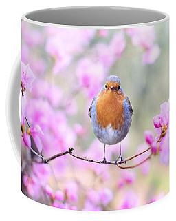Robin On Pink Flowers Coffee Mug