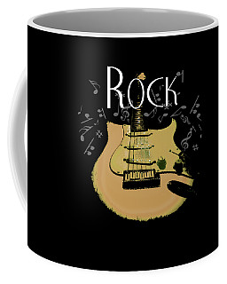 Coffee Mug featuring the digital art Rock Guitar Music Notes by Guitar Wacky