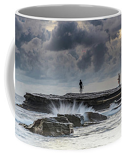 Rock Ledge, Spear Fishermen And Cloudy Seascape Coffee Mug