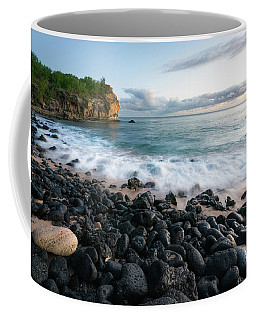 Coffee Mug featuring the photograph Rocky Beach In Kauai At Sunset by James Udall