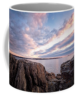 Rocky Coast At Daybreak . Coffee Mug