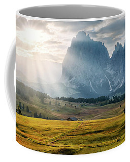 Coffee Mug featuring the photograph Rolling Hills Of Alpe Di Siusi by Dmytro Korol