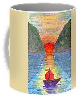 Coffee Mug featuring the painting Romantic Ship by Dobrotsvet Art