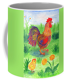 Rooster And Little Chicken Coffee Mug