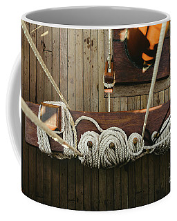 Ropes To Hold The Sails Of An Old Sailboat Rolled. Coffee Mug