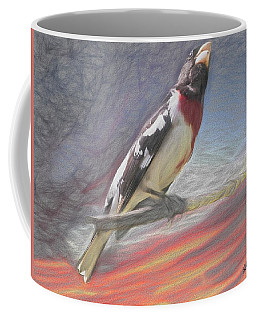 Rose-breasted Grosbeak Pearching. Coffee Mug