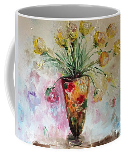 Coffee Mug featuring the painting Roses In Vase by Laurie Lundquist