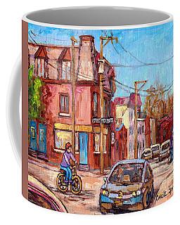 Rue Debullion And Napoleon Corner Store Across Bakery Peloponissos Montreal Paintings C Spandau Art Coffee Mug