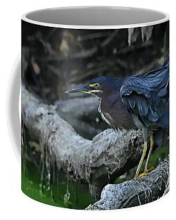 Ruffled Green Heron Coffee Mug