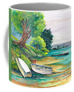 Coffee Mug featuring the painting Safe Mooring-whangamata Harbour. by Val Stokes
