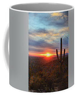 Saguaro Cactus And Tucson At Sunset Coffee Mug