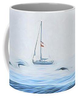 Sailboat Beyond The Surf Coffee Mug