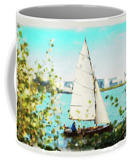Sailboat On The River Watercolor Coffee Mug