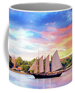 Coffee Mug featuring the photograph Sails In The Wind At Sunset On The York River by Ola Allen