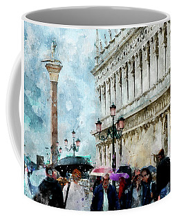Saint Theodore Sculpture At Saint Mark Square In Venice, Italy - Watercolor Effect Coffee Mug