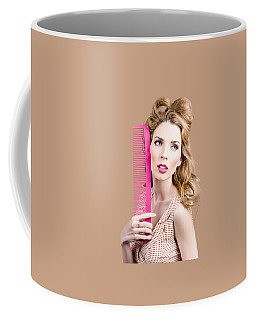 Salon Pin Up Woman With Elegant Hair Style Coffee Mug