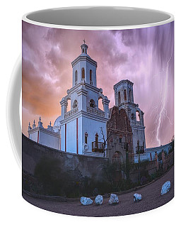 San Xavier Mission Lightning Coffee Mug