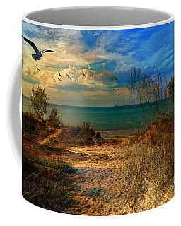 Sand Track To The Ocean At Dusk Coffee Mug