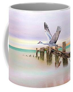 Sandhill Crane And Old Dock Coffee Mug