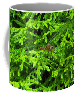 Coffee Mug featuring the photograph Scarlet Darter Male Dragonfly by Rockin Docks