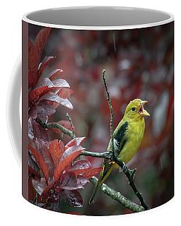 Scarlet Tanager Singing In The Rain Coffee Mug