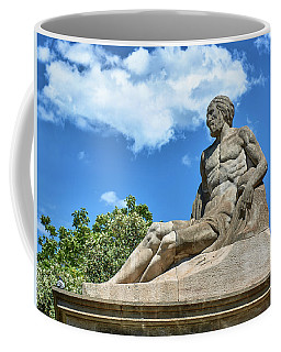 Coffee Mug featuring the photograph Sculpture Of Gentleman On The Montjuic Hill In Spain by Eduardo Jose Accorinti