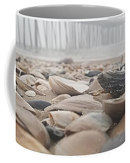 Coffee Mug featuring the photograph Seashells At The Pier by Robert Banach