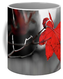 Coffee Mug featuring the photograph Selective Red Maple Leaf by Jerry Sodorff