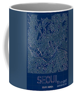 Seoul Blueprint City Map Coffee Mug