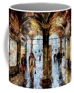 Shopping Area Of Saint Mark Square In Venice, Italy - Watercolor Effect Coffee Mug