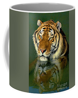 Coffee Mug featuring the photograph Siberian Tiger Reflection Wildlife Rescue by Dave Welling