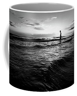 Silhouette Of A Boy - Black And White Fine Art Backlit Boy At Sunset Coffee Mug