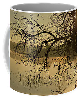 Silhouette Of A Tree By The River At Sunrise Coffee Mug