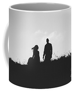 Silhouette Of Couple In Love With Wedding Couple On Top Of A Hil Coffee Mug