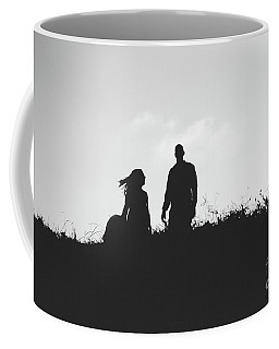 Silhouette Of Couple In Love With Wedding Couple On Top Of A Hill Coffee Mug
