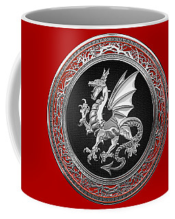 Silver Winged Norse Dragon - Icelandic Viking Landvaettir On Black And Silver Medallion Over Red  Coffee Mug