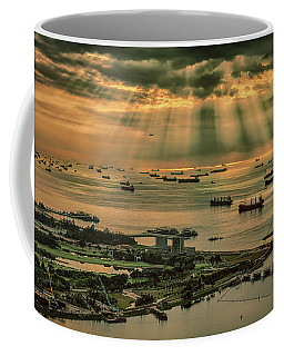 Coffee Mug featuring the photograph Singapore Harbour by Chris Cousins