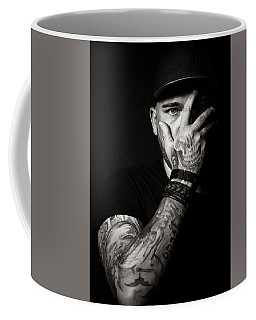 Skull Tattoo On Hand Covering Face Coffee Mug