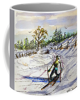Coffee Mug featuring the painting Slippery Slope by Barry Jones