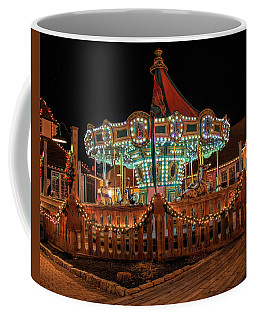 Coffee Mug featuring the photograph Smithville Carousel At Night by Kristia Adams