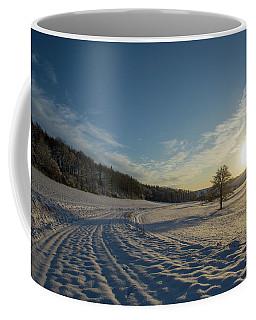 Snow And Sunset Coffee Mug