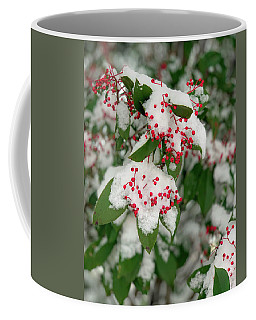 Coffee Mug featuring the photograph Snow Covered Winter Berries by Lora J Wilson